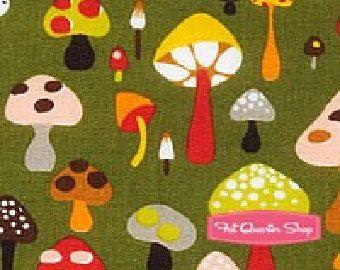 Willow shroom fabric- Alexander Henry Mushrooms 1 Yard Fabric