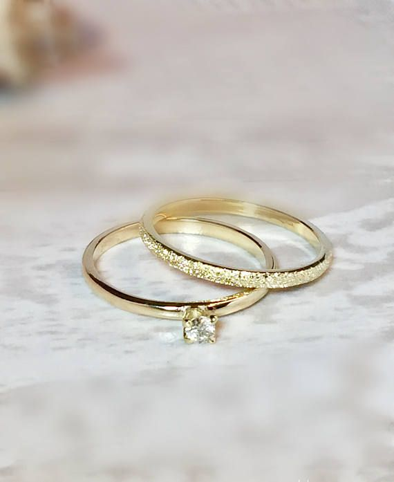 Sale 3 Ring Set 14k 10k Gold Stack Rings Wedding Bands Stardust Rings Friendship Ring Simple Gold Rings Dainty Gold Ring 14k Gold Wedding Ring Set