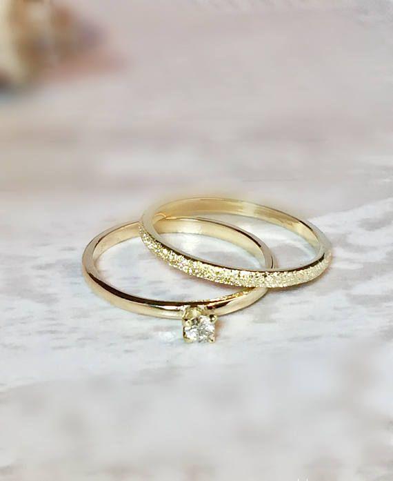 Sale 3 Ring Set 14k 10k Gold Stack Rings Wedding Bands Etsy 14k Gold Wedding Ring Set Wedding Rings Sets Gold 14k Gold Wedding Ring