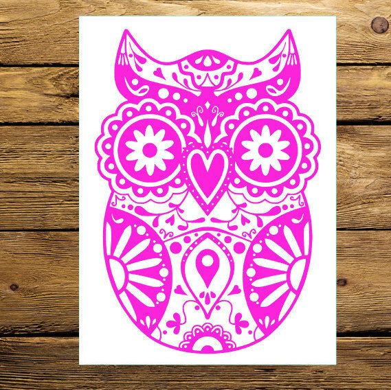 Sugar Skull Owl Decal Customized Decal Car By MMVinylCreations - Owl custom vinyl decals for car