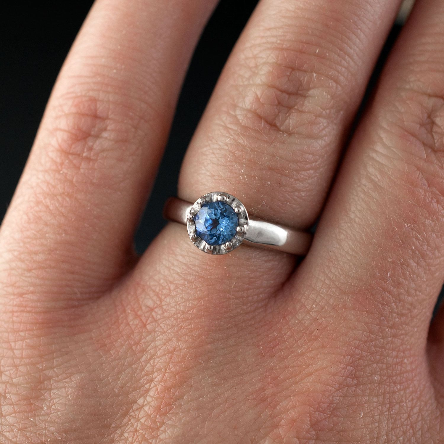 Tanzanite Ring Bead Set Solitaire in Silver Palladium
