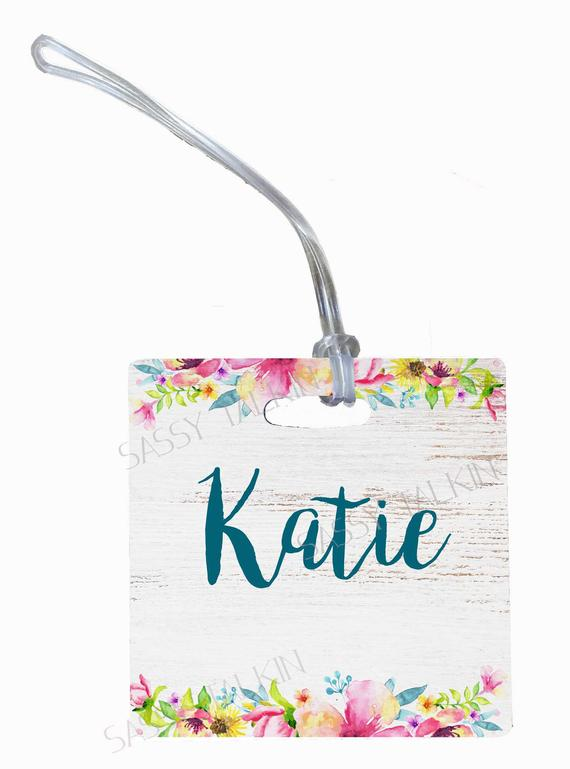 Luggage tag, distressed wood with flowers, personalized