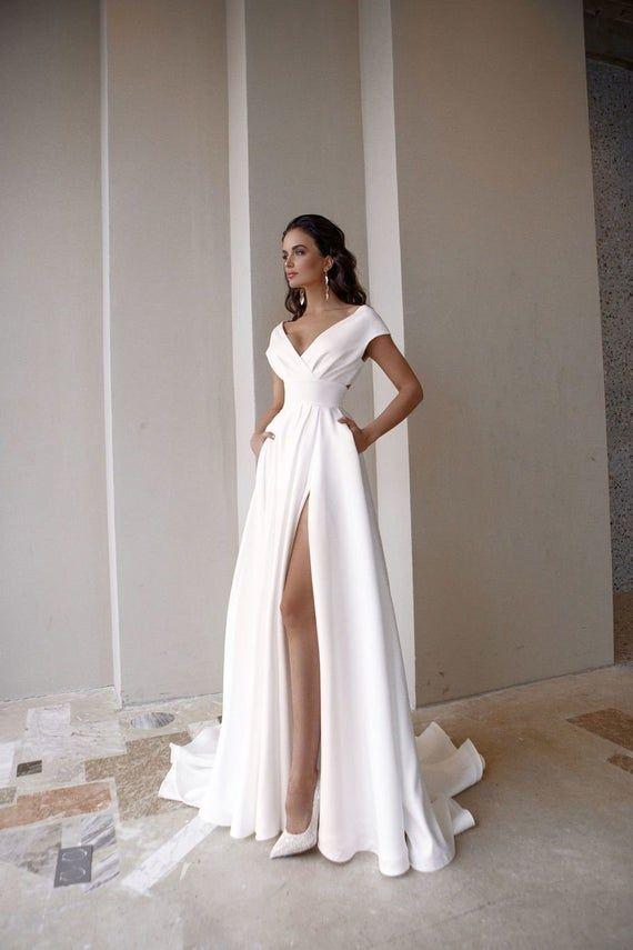 A-line wedding dress, bohemian simple, boho romant