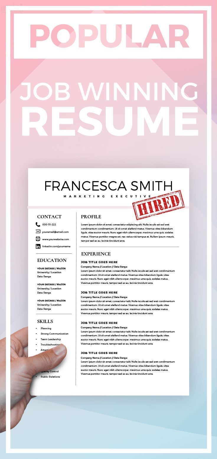 Ms Word Resume Feminine Resume  Cv Design  Resume Download  Ms Word Resume For .