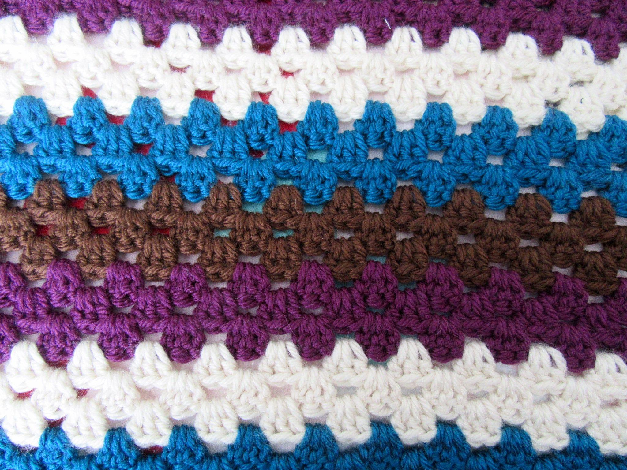 Handmade crochet blanket granny stripe- purple, brown, cream ...