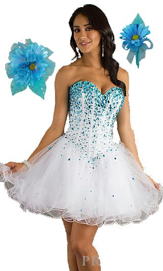 This fluffy white dress with blue sequins will go perfectly with our this fluffy white dress with blue sequins will go perfectly with our sassy wrist corsage prom flowerswrist mightylinksfo