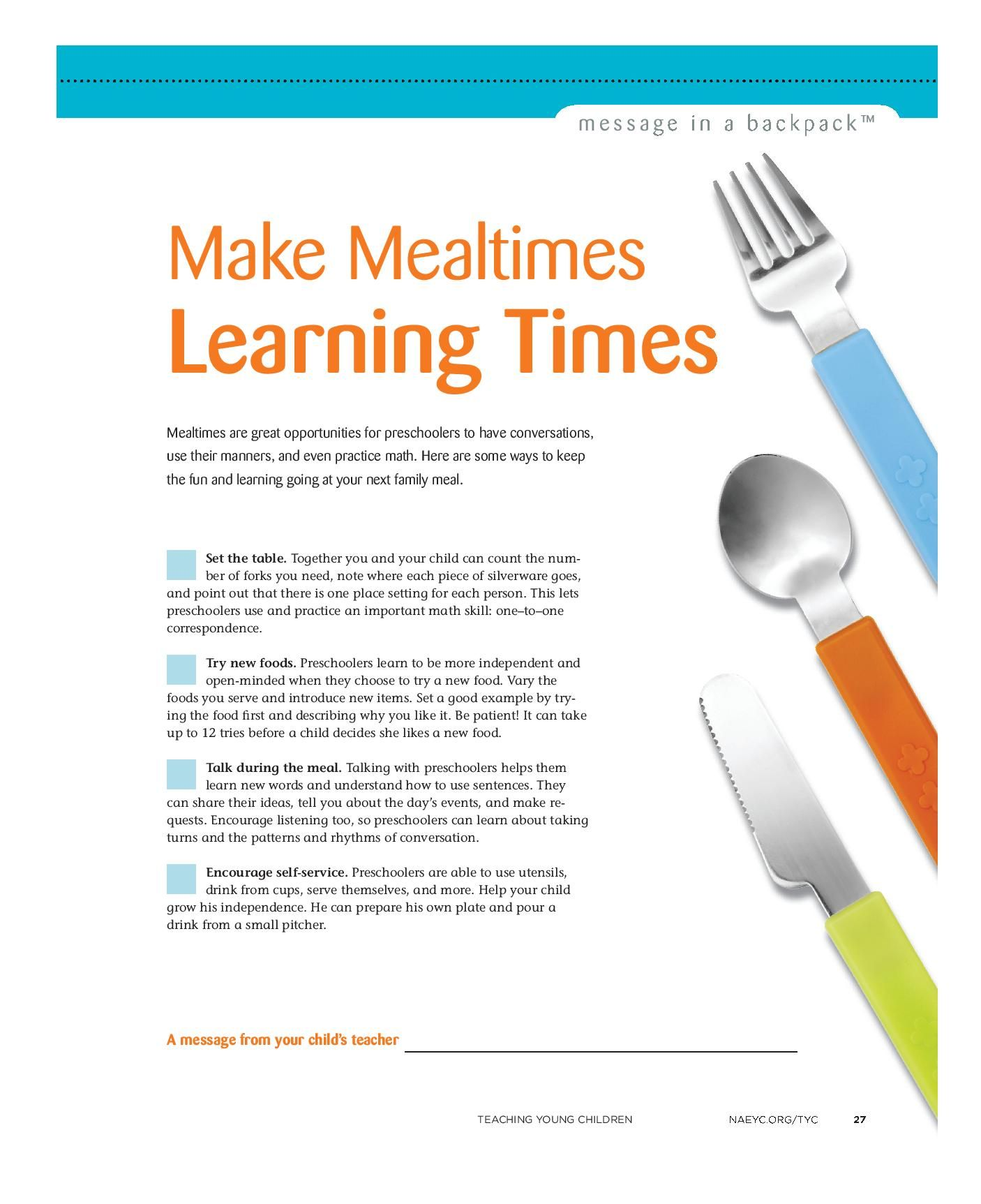 Mealtimes Are Great Opportunities For Preschoolers To Have