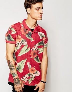 60b680ca59d ASOS Viscose Shirt In Short Sleeve With Hibiscus Floral Print ...