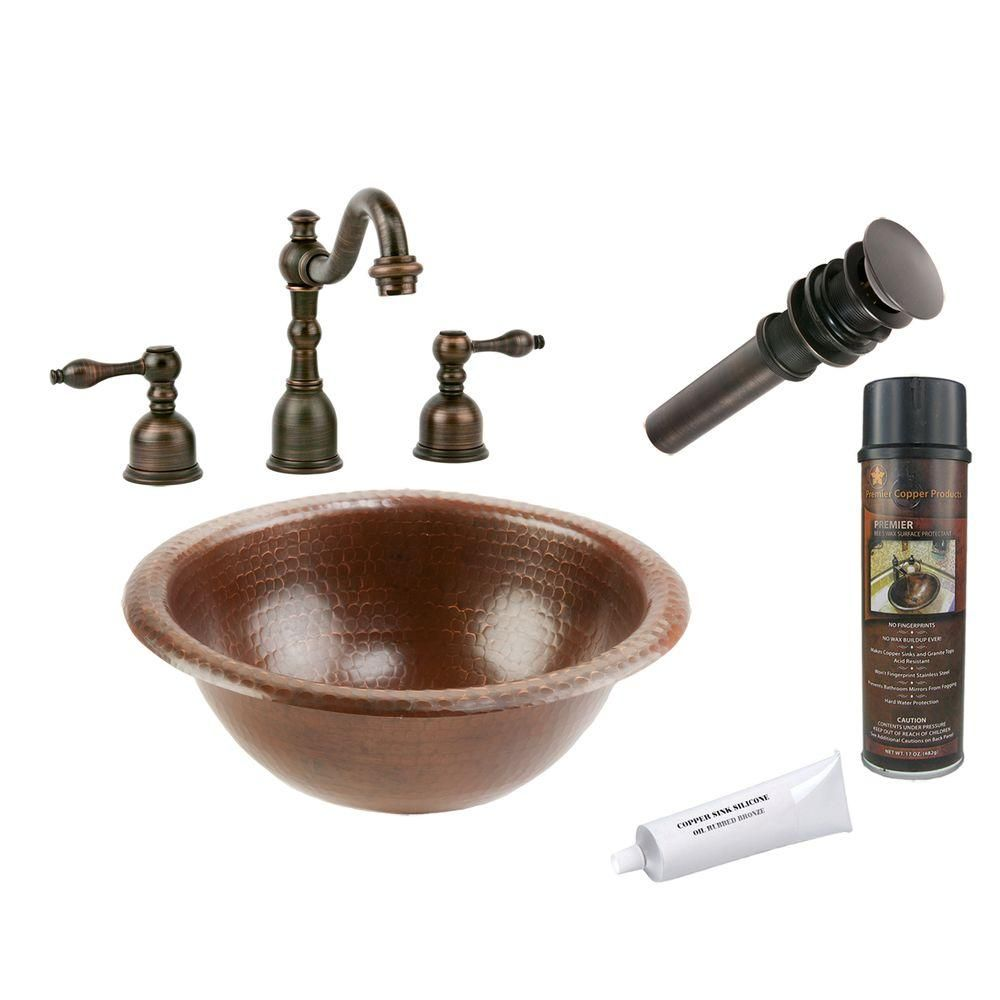 Photo of Premier Copper Products All-in-One Small Round Self Rimming Hammered Copper Bathroom Sink in Oil Rubbed Bronze-BSP2_LR12RDB – The Home Depot