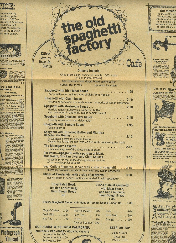 The Old Spaghetti Factory Menu 1980's Seattle Washington