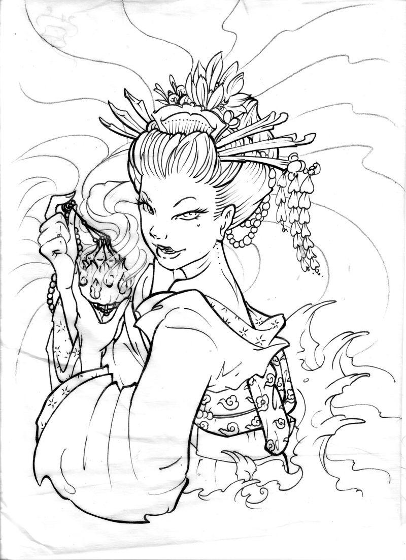 geisha illustrations - Bing Images | Coloring Women | Pinterest