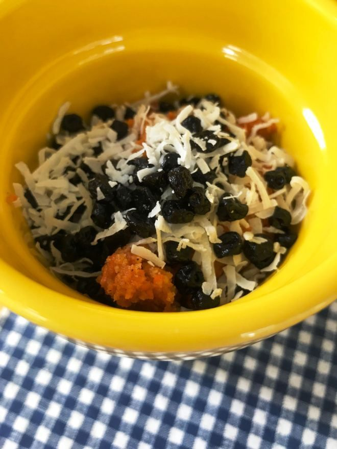 AIP Carrot Cake Mug Muffin with Blueberries and Coconut