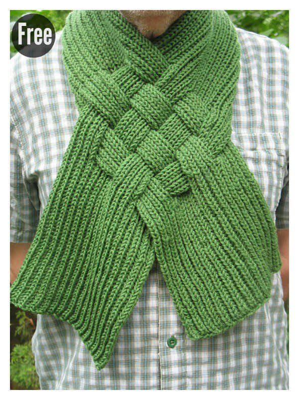 Beautiful Celtic Knot Looped Scarf Free Knitting Pattern | Nadel und ...