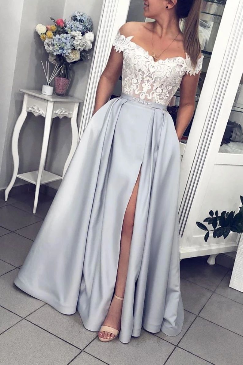 Gray Off Shoulder Satin Long Prom Dress With Lace Top Satin Evening Dress Silver Prom Dress Prom Dresses With Pockets Satin Evening Dresses [ 1190 x 793 Pixel ]