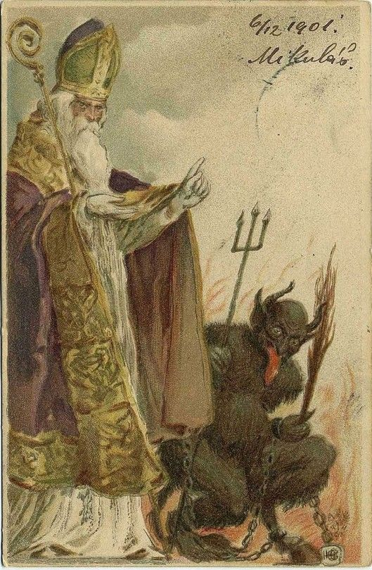 Kind St Nicholas Became The Santa Claus We Know Today While The Evil Krampus Punishes Naughty Children Krampus Card Krampus Creepy Christmas