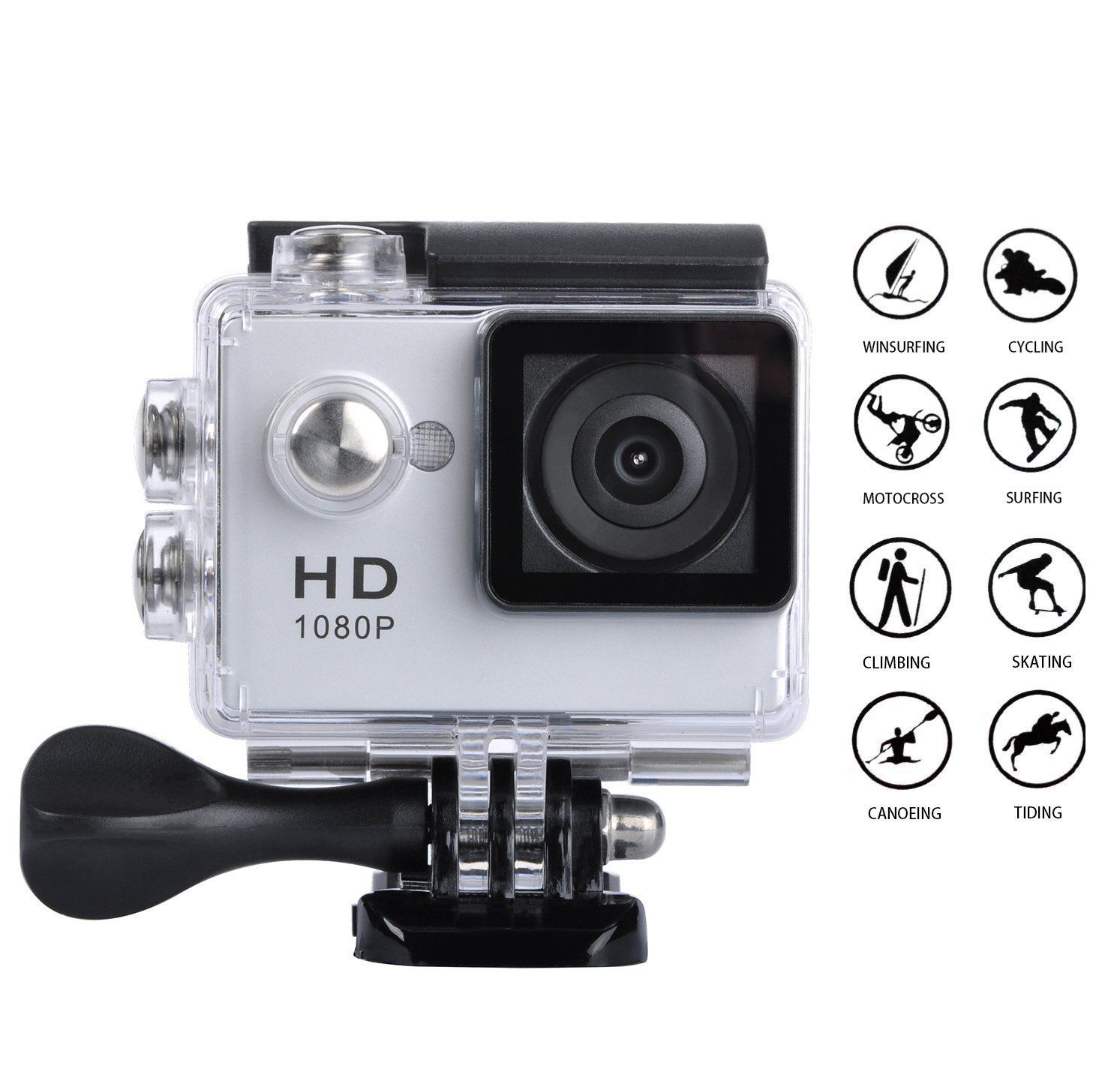 Goldwangwang 1080P Full HD 2 0 inch LCD Screen Waterproof Sports Action Camera Cam DV 5MP DVR Helmet Camera Sports DV Camcorder Extra 1 Batteries Silver