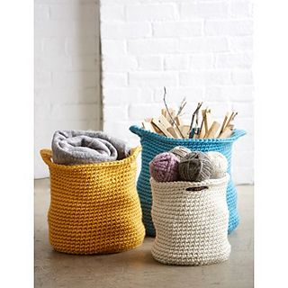 Stash all of your stuff in these stylish crochet baskets. Bernat Mega Bulky is currently ONLY available at Jo-Ann Fabric and Craft Stores, DeSerres, and Lens Mill.