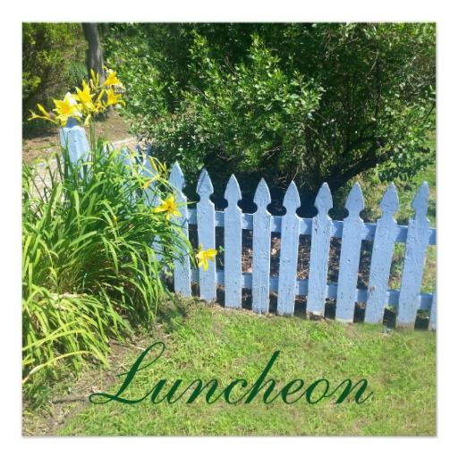 "Blue Picket Fence Luncheon 5.25"" Square Invitation Card"