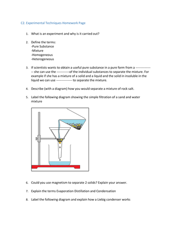Experimental Techniques Lab Equipment Worksheets Teaching