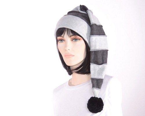 879a59a994e86 Long Goth Stocking Cap Striped Dark Light Gray Grey Mens Women Hat ...