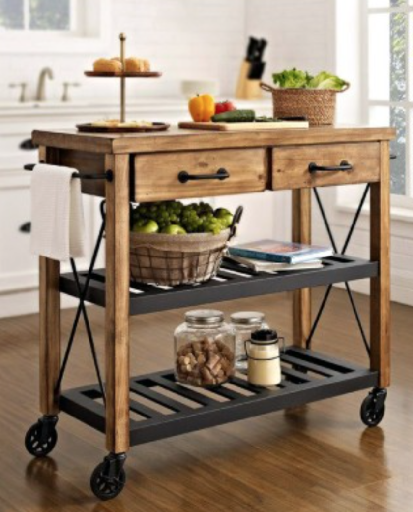 Hoglund Kitchen Cart With Wood Top