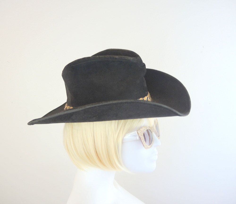cfd9ef8422652d Vintage Black STETSON Smokey & the Bandit II Cowboy Hat Universal Studios  Made in USA Country Western Halloween Theater Costume Men or Women by ...