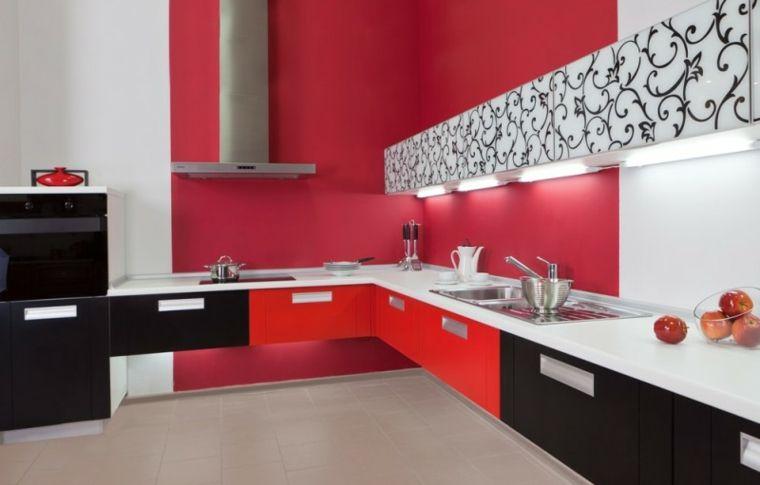 diseño cocina roja original estilo Interiores para cocina Pinterest