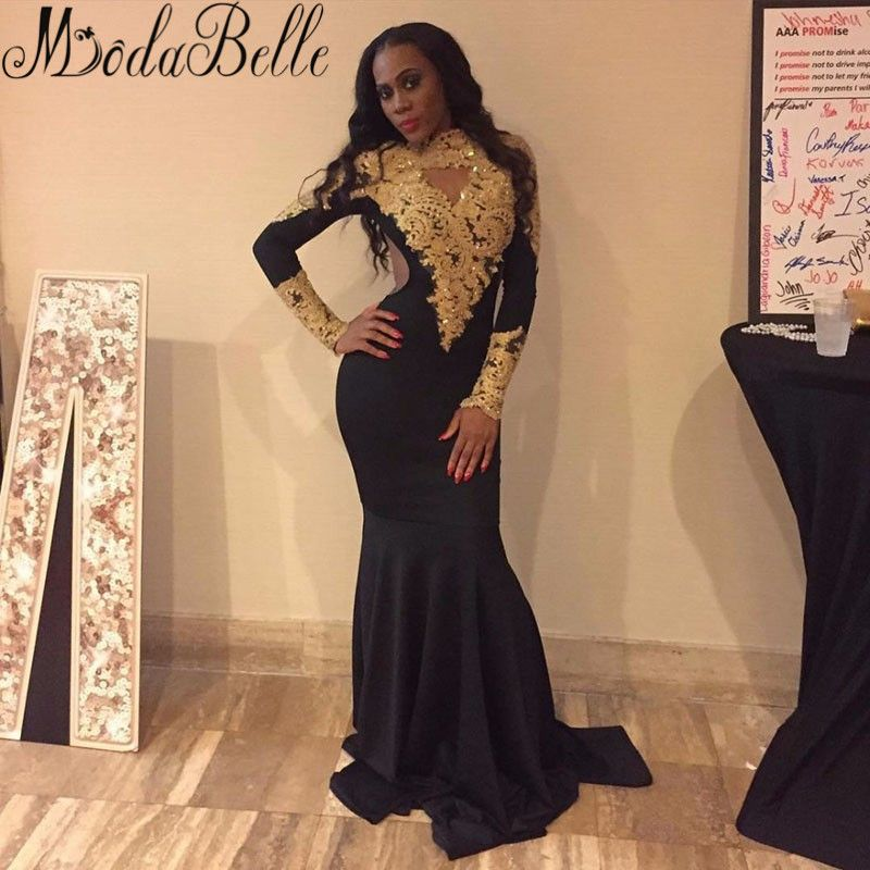 a0dd9665e31 Black And Gold Rhinestone Mermaid Prom Dress 2017 African Black Girls Long  Sleeve High Neck Prom Dresses Floor Length Party Gown
