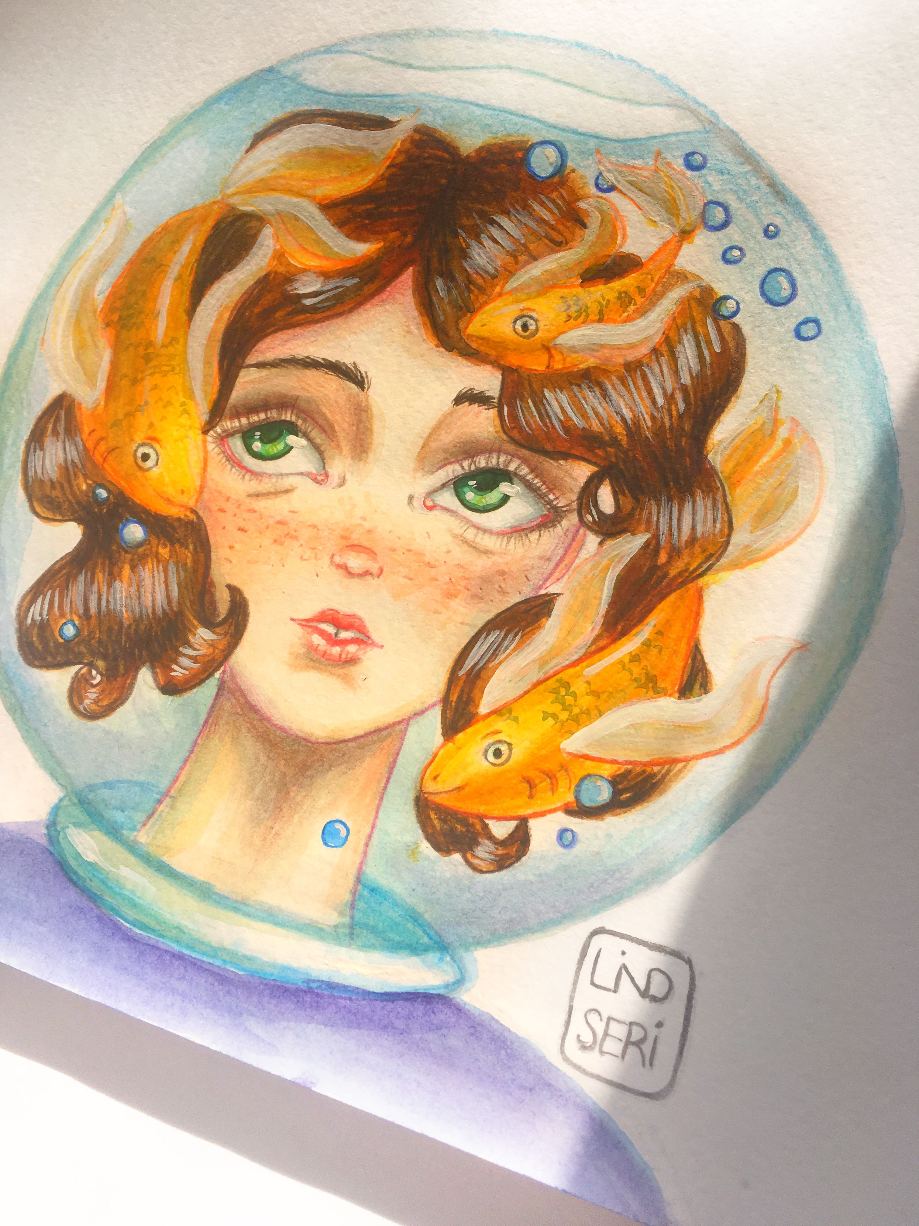 art draw 2017 drawing scetching sketch girl fish water