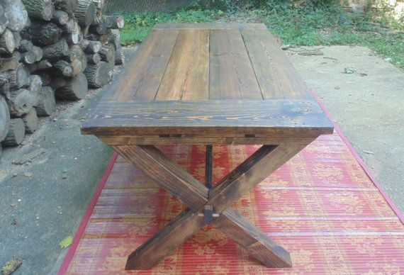 Somerset Crossed Leg Dining Table, Farmhouse, Reclaimed Wood, Custom,  Handcrafted, Handmade, Made in USA, Solid Wood, Kitchen Table
