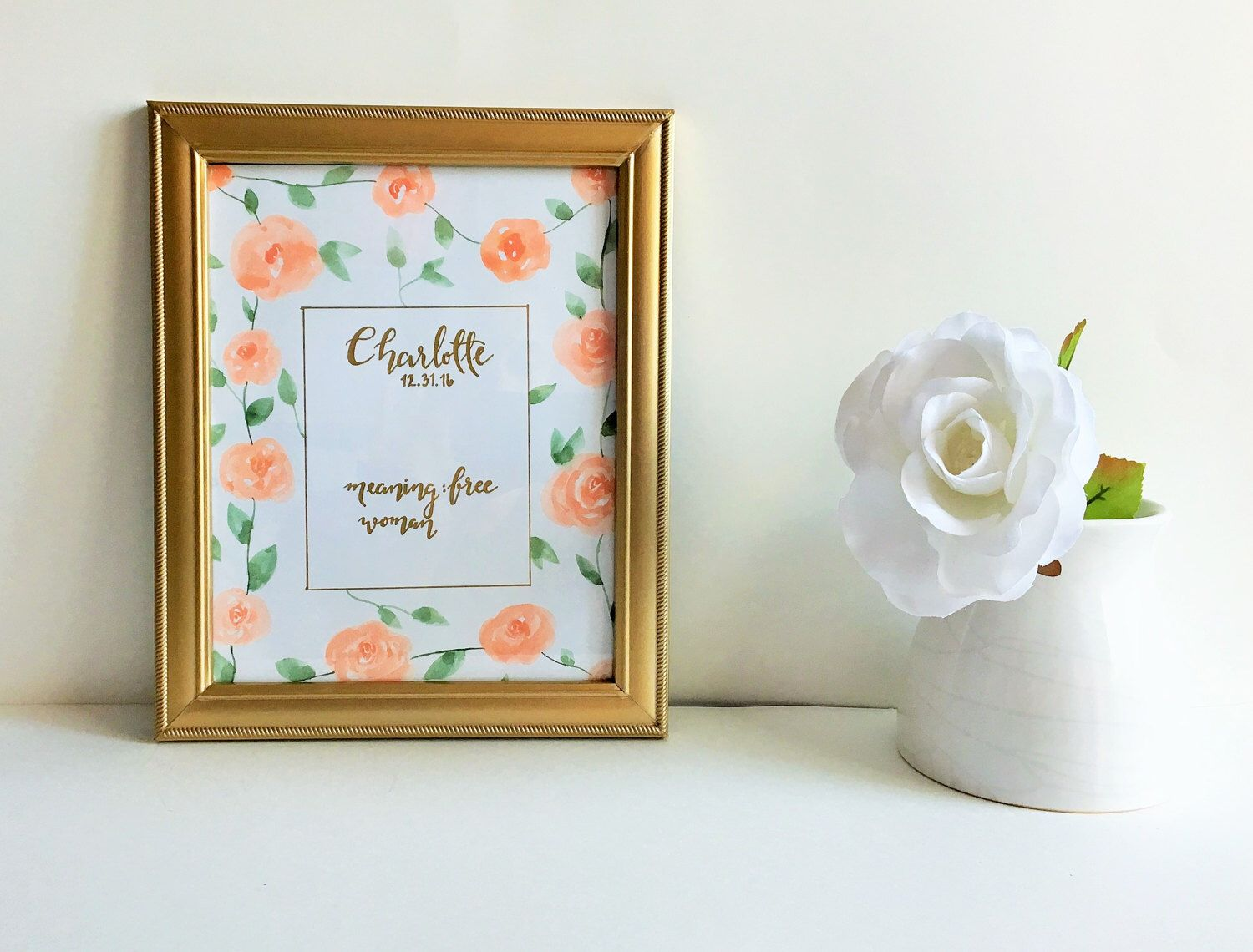 & Sign Decor Meaning Baby Name Sign  Watercolor Nursery Decor  Floral Name Sign