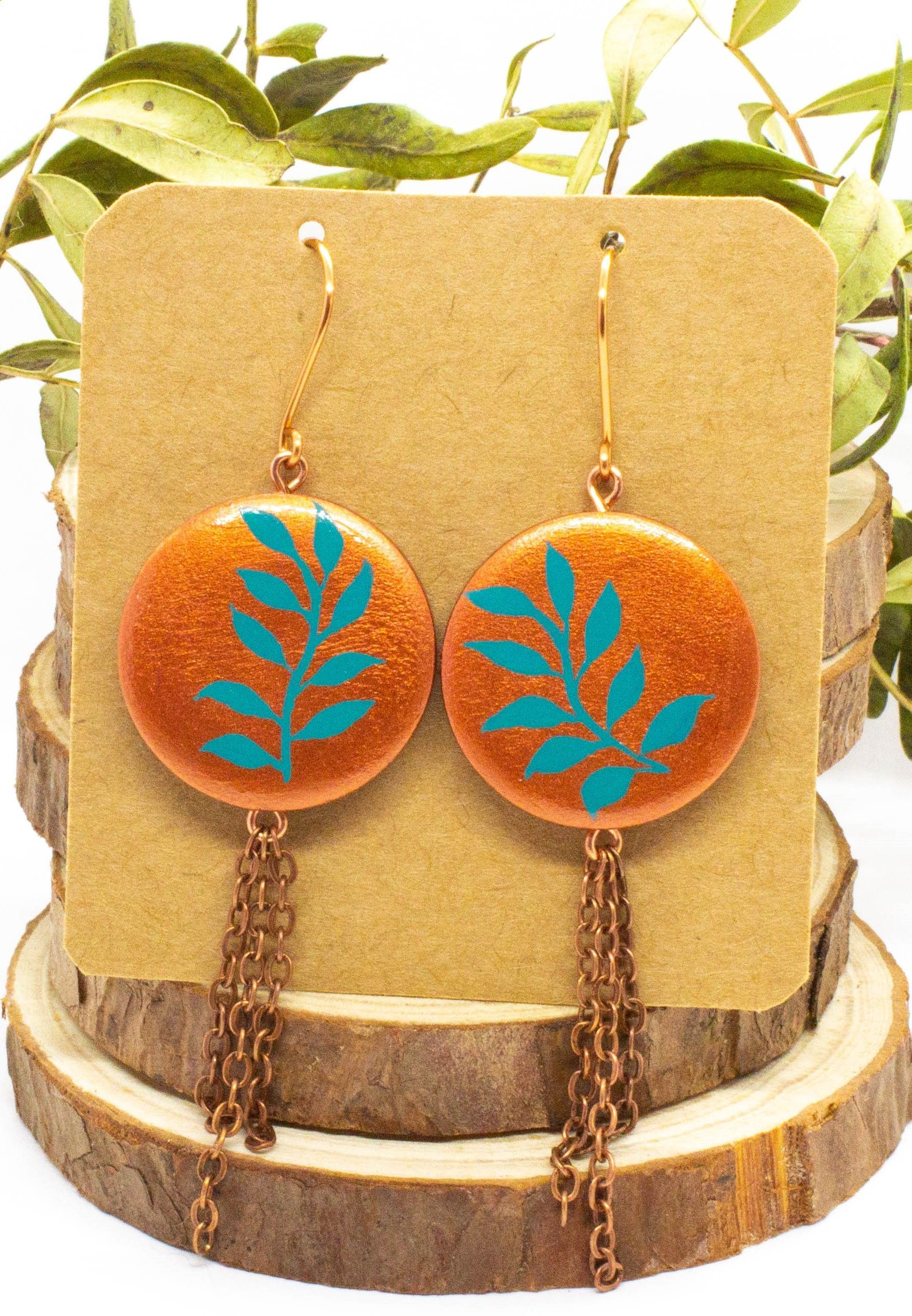 Hand Painted Wooden Earrings Copper Dangles Nature Inspired Etsy Nature Inspired Handmade Jewelry Hand Painted Jewelry Copper Jewelry Handmade