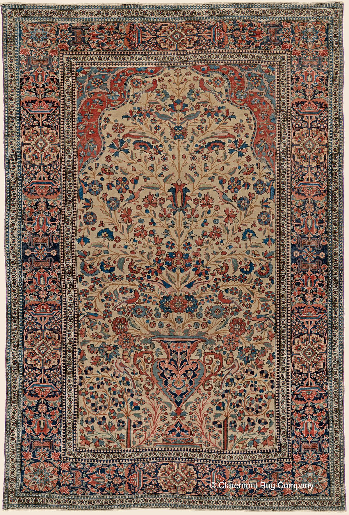 Antique 19th Century Central Persian High Collectible Oriental Art Level Mohtasham Kashan Vase Rug Antique Rug Claremont Rug Company Persian Rug Designs Carpet Handmade Antique Oriental Rugs