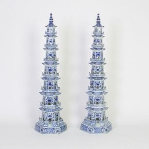 Tall Elegant Pair of Blue and White Chinese Porcelain Pagodas
