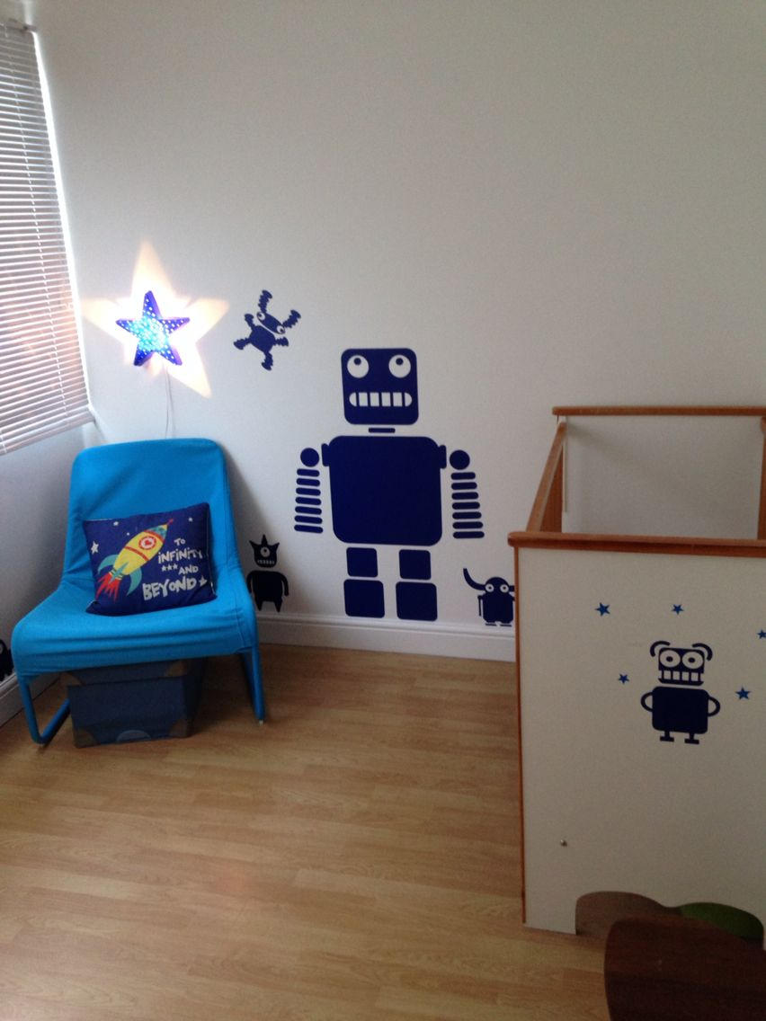 robot themed bedroom using blue wall stickers robot on wall stickers for bedroom id=72207