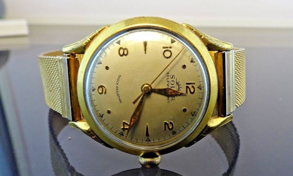 589bef717711 VERY RARE VINTAGE SOLAR SELF-WINDING SWISS AUTOMATIC WATCH/GOLD FILLED CASE  #Luxury
