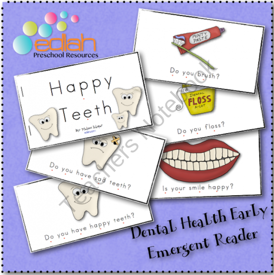 Dental Health Early Emergent Reader from edlah Preschool