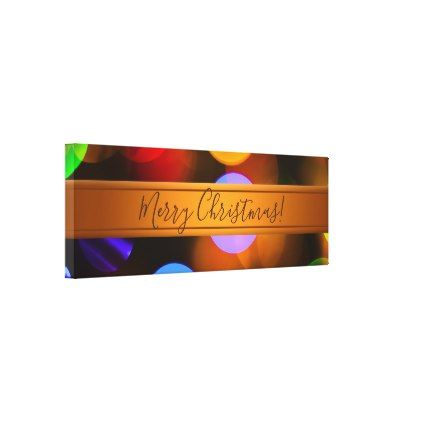 Multicolored Christmas lights  Add text or name  Canvas