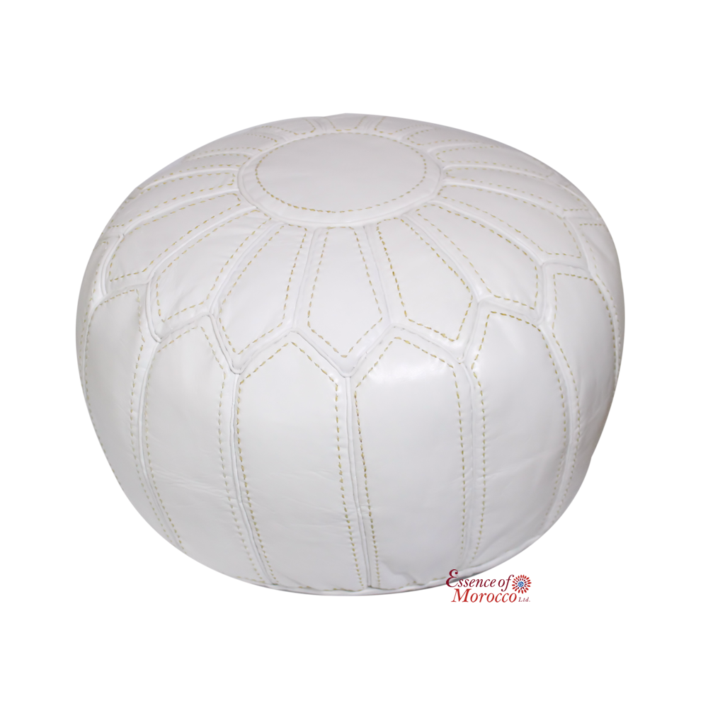 White Pouf Ottoman Moroccan Pouf Ottoman Stuffed In The Ukgenuine White Leather