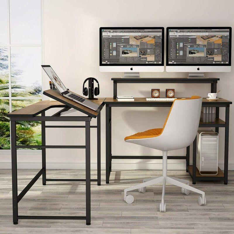 17 Stories Priddy Reversible L Shape Desk Wayfair In 2020 Corner Computer Desk Large Computer Desk Computer Table Design