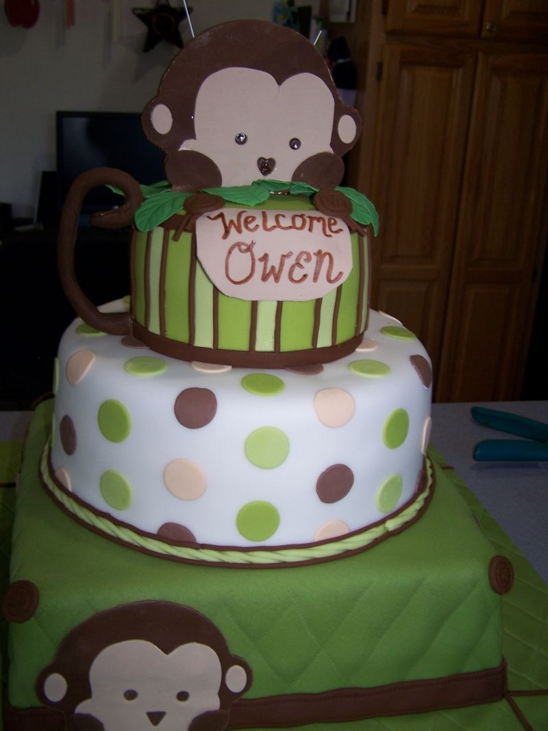 Omg matched kaelobs baby bedding nursery perfectly wish i had thought of this then baby - Baby shower monkey theme cakes ...