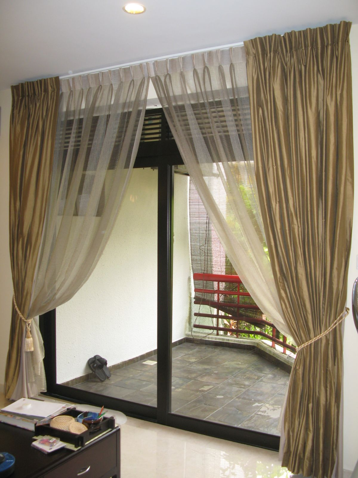 curtain with sliding rods glass system l door rod ideas patio white curtains net lovely peytonmeyer and