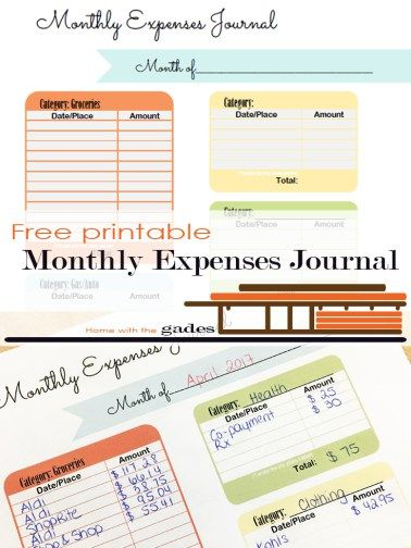 Free printable, Contemporary Monthly Expenses Journal Planners and