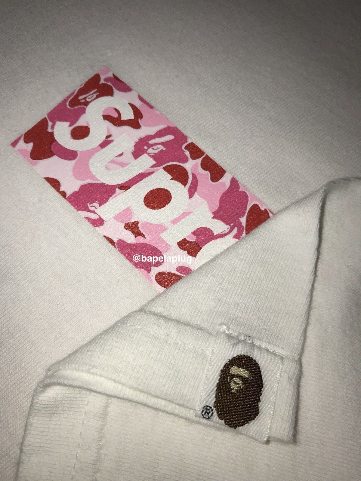 0f4801fb SUPREME x BAPE Pink ABC Camo Box Logo T-shirt WHITE L Large Japan A bathing  ape