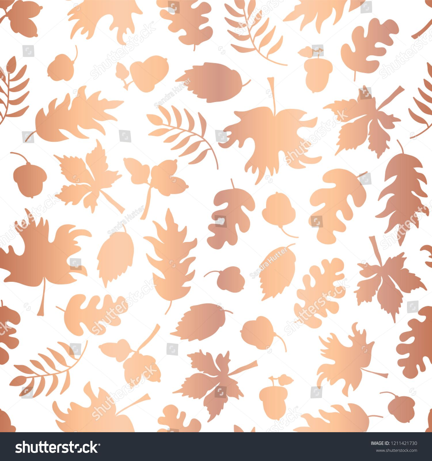 Rose gold foil autumn leaf silhouettes seamless vector background copper shiny abstract fall leaves shapes also rh in pinterest