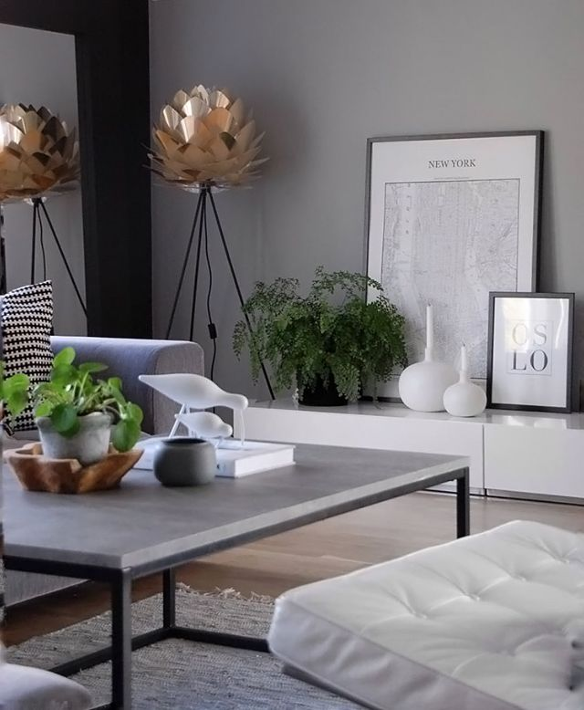 living room lamp shades. How beautiful is this living room  Vita Silvia lamp shade and Floor Tripod stand are