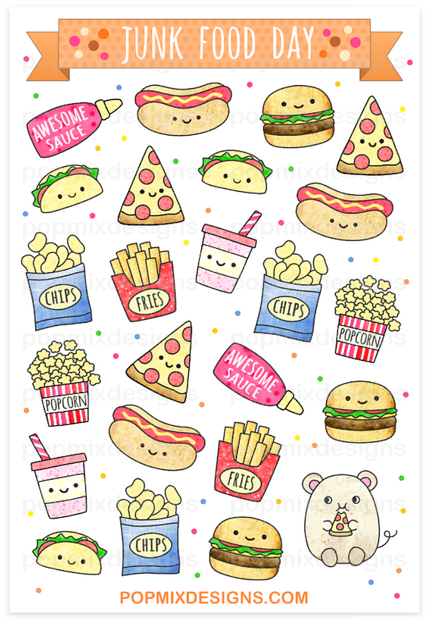 Junk Food Stickers Illustration Drawing Art En 2019 Doodles