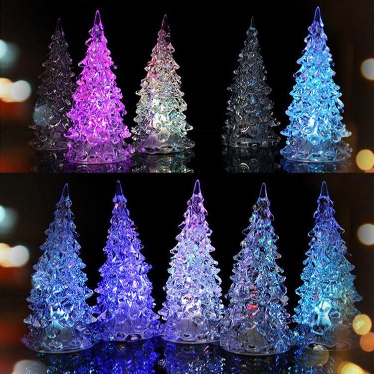 LED 7 Colors Changing Acrylic Christmas Tree Night Light Lamp Home