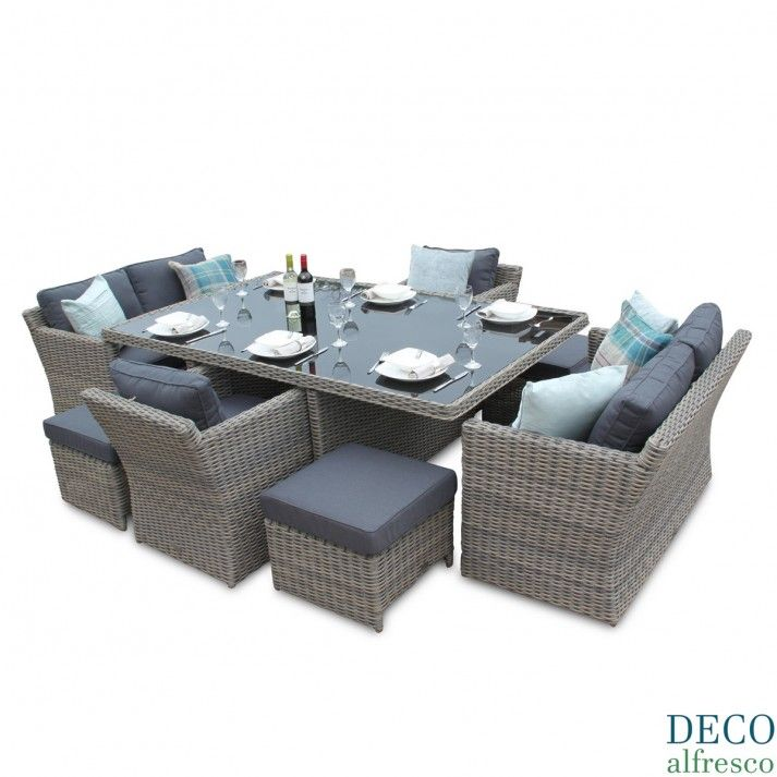 pc High back Grand Sofa Cube Dining Rattan Furniture Set  Rattan
