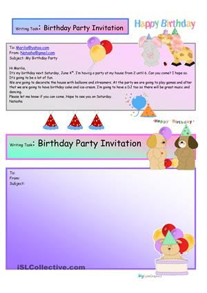 Creative Writing Birthday Party Invite 16 A1 Level Party